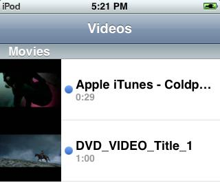 Converted video in iPod Touch