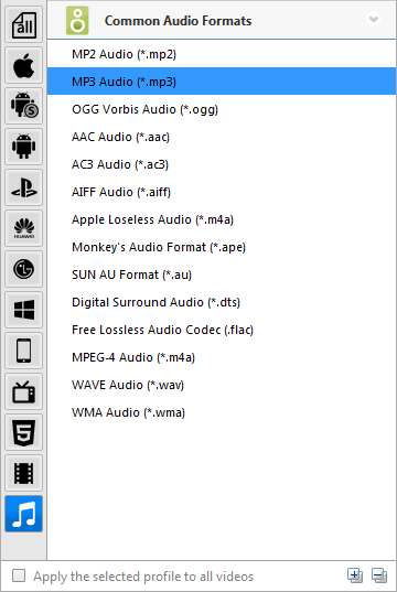 choose audio formats