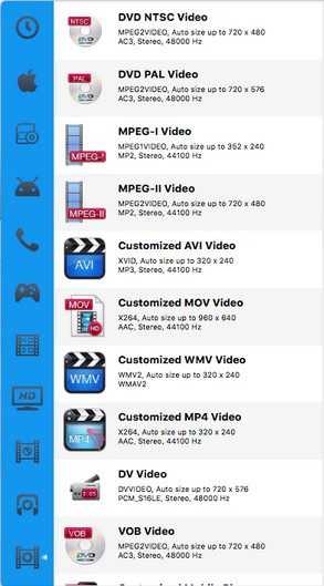 Choose MP4 as the output format on Mac