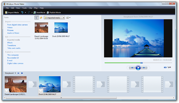 Main Window of Windows Movie Maker